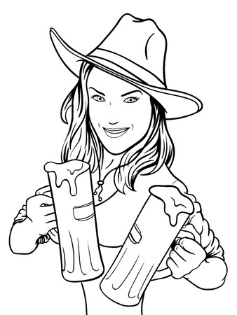 young girl with beer.  Vector