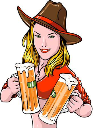 Pretty cowgirl with beer mugs