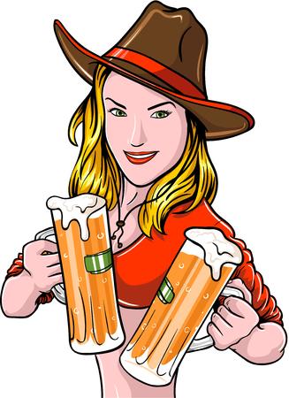 vaqueras: Vaquera bonita con jarras de cerveza Vectores