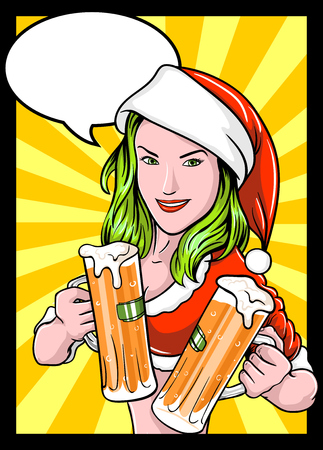 santa girl: Santa girl with beer, Christmas or new Year party invitation, design with space for text. Comics with Santa Girl.