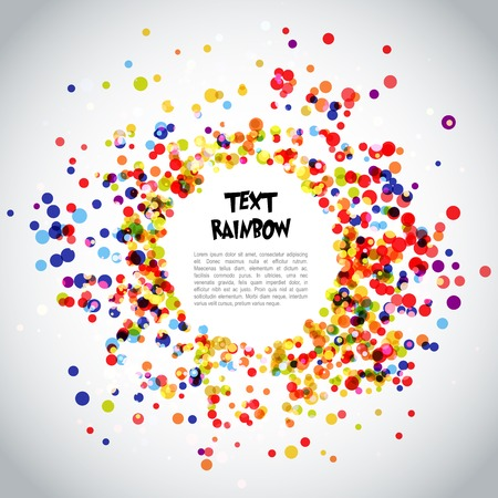 arial: Template beautiful rainbow background with space for text. Retro rainbow circle pattern background. Fonts used - Grinched, Arial.