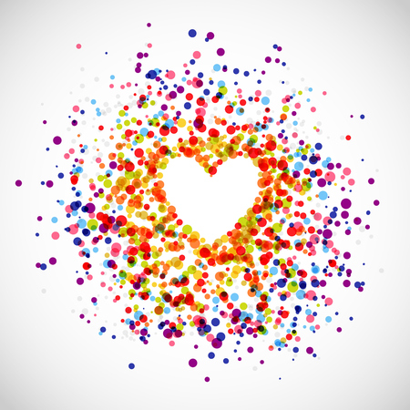 Background of rainbow dots in the shape of heart Vector