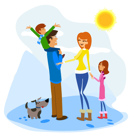 playtime: Illustration of a Family Enjoying a Winter Day Illustration