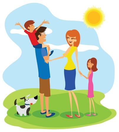 perro familia: Excursión de la familia feliz, diversión en el día soleado.