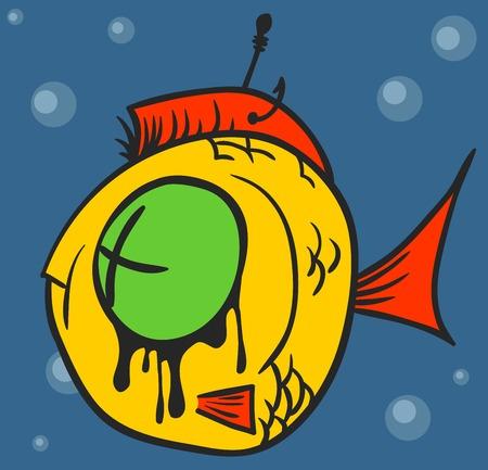 Dead Fish Graffiti. junk fish restaurant leftovers design illustration