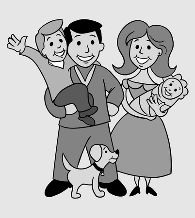 baby grand: Old photo of a happy family. Illustration in the style of the game.