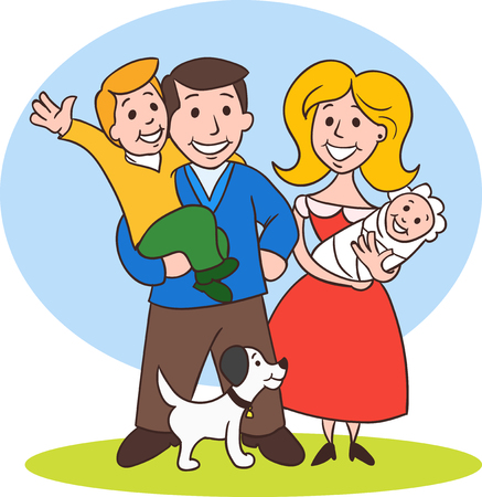 Cute cartoon family in colorful casual clothes. Illustration