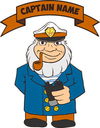 captain: Sea Captain is a full-length holding binoculars. There is room for text. Cartoon of pirate captain.