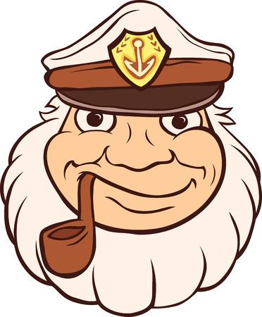 海洋キャプテン パイプたばこを吸います。テンプレート漁師頭。  イラスト・ベクター素材