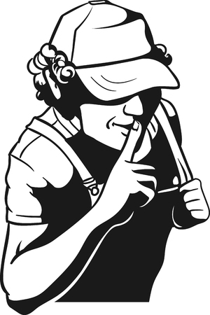Dude executive standing with finger near his mouth - tss gesture Illustration