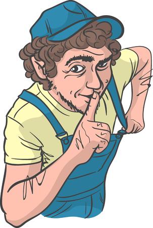 Sly Repairman something unsaid. Plumber making silence gesture. Bootleggers behaving conspiratorially.
