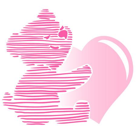 Vector illustration of cute little Teddy bear holding red heart.