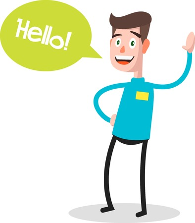 say hello: Successful young businessman character saying hello with speech bubble, front view. Business, job, professional, consultant concept. vector illustration Illustration