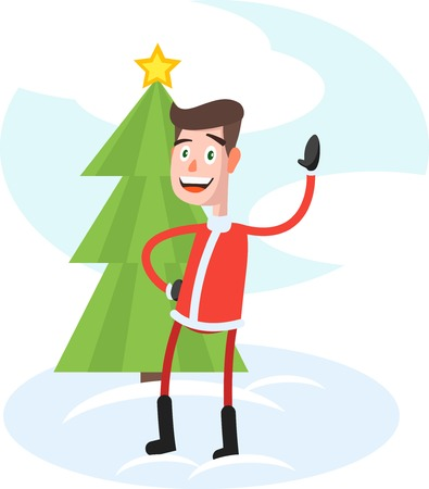 exhilaration: Funny stylish guy with Santa white beard and red hat holding a christmas tree and a placard New Year Party Colorful vector illustration in flat style.