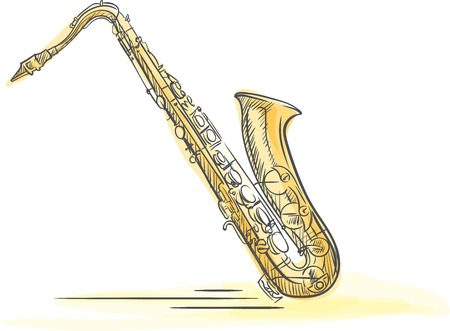 The hand drawn saxophone. Saxophone made with watercolor brush strokes.