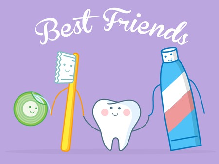 Hygiene concept. Toothcare things. Toothpaste floss mouthwash toothbrush tooth. Funny vector illustration.