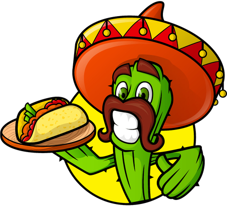 spicy mascot: Mexican Cactus With Taco Illustration