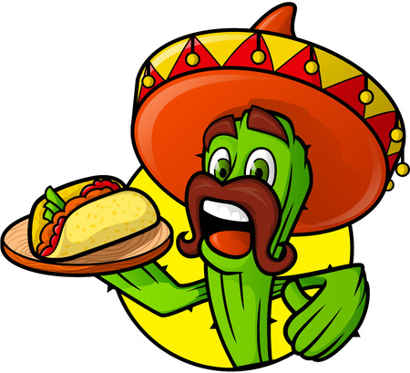 pinata: Mexican Cactus With Taco Illustration