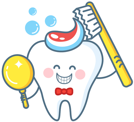 Cartoon Tooth With Toothpaste And Mirror Vettoriali