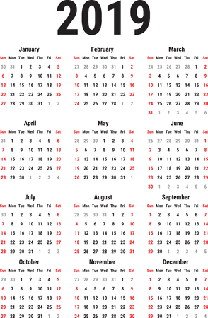 Calendar for the year 2019 on white background. Week starts sunday simple vector template stationery design template
