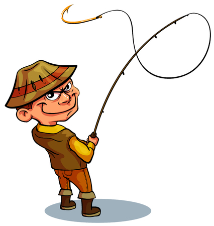 The fisherman grins at the bait. An empty hook for your presentation. Amateur Fisherman In Khaki Clothes Seeing The Fish To Take The Bait Cartoon Vector Character And His Hobby Illustration Illustration