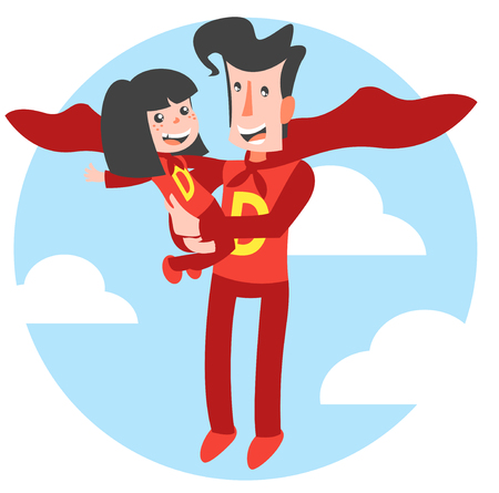 Super Dad and Super Daughter Ilustrace