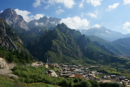 Small villages at the foot of the mountain around Gannan
