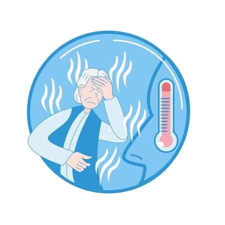 Senior woman having fever