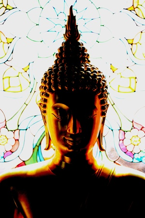 budha in darkness photo
