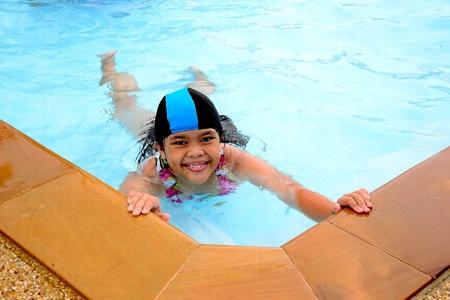 happy girl  swiming