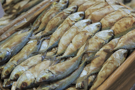 fish selling: Dried or salted fish selling at local sunday market
