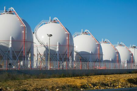 LPG or LNG storage tanks on a plant. Liquefied petroleum gas (LPG) storage tanks. Gas plant.