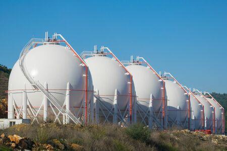 Liquefied natural gas storage tanks. Liquefied petroleum gas (LPG) storage tanks. Gas plant.