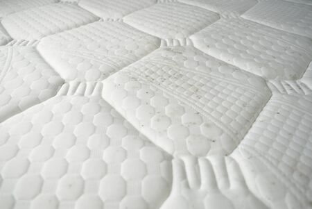 Fungus stains on a bedding. Dirty mattress.  Stock Photo