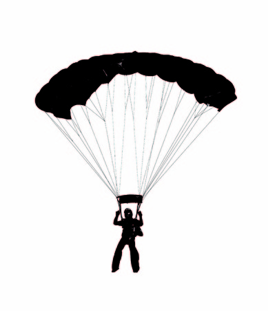 skydiver: parachutist preparing to land
