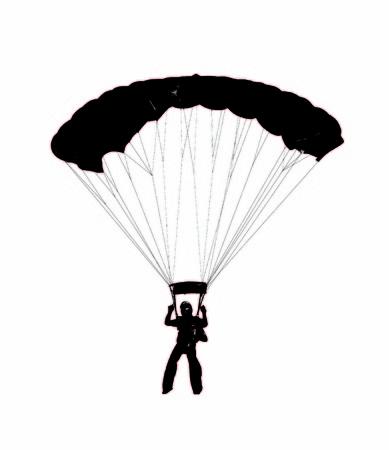 preparing: parachutist preparing to land