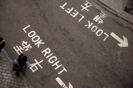 look at right: road with look left and look right signs in Hong Kong