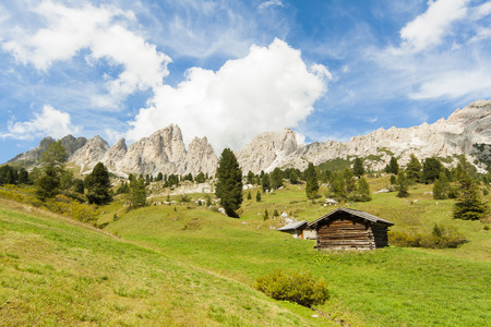 sud tirol: view of a landscape of high mountain with green grass and an isolated cabin