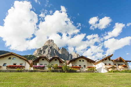 sud tirol: bottom view of a group of houses in a mountain village