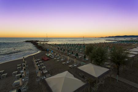 limbo: View to a bathhouse in Marina di Massa Editorial