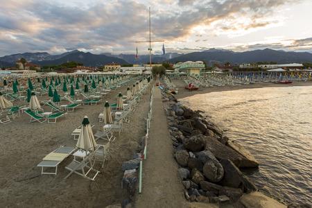 massa: View to a bathhouse in Marina di Massa Editorial