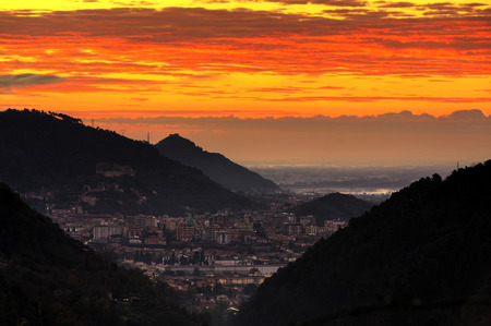massa: Panoramic view of the city of Massa at dawn Stock Photo