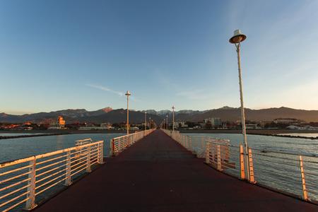 massa: the jetty of Marina di Massa to dawn Stock Photo