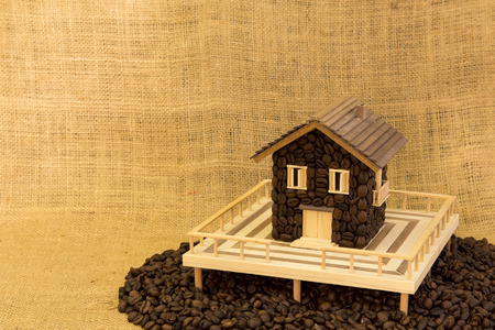 expressed: House made of coffee on sea of ??coffee Stock Photo