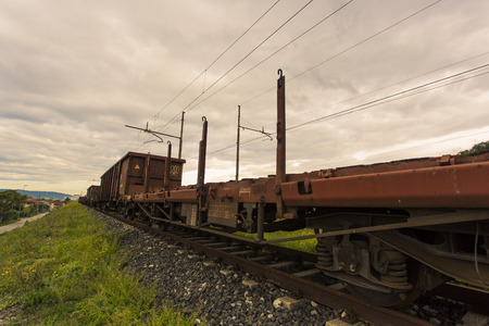 freight train: Diagonal view of a freight train stopped Editorial