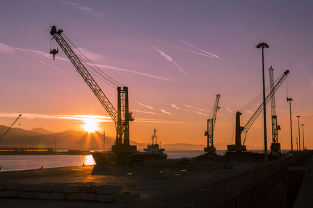 shipload: View of a cranes at the port to dawn