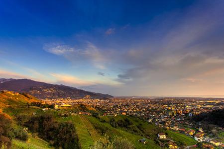 massa: Panoramic view of city of Massa before the sunset