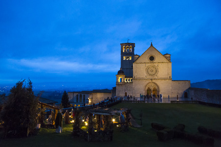 the believer: Night view of the Cathedral of St. Francis with the nativity scene on the left