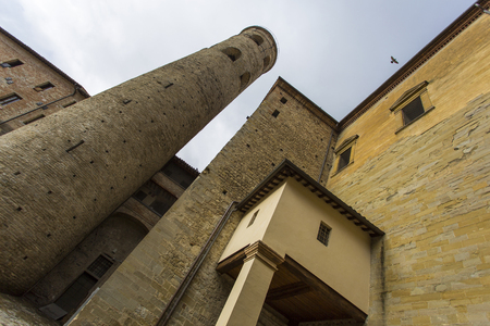wide angle lens: View from below using a wide angle lens of an ancient tower Editorial