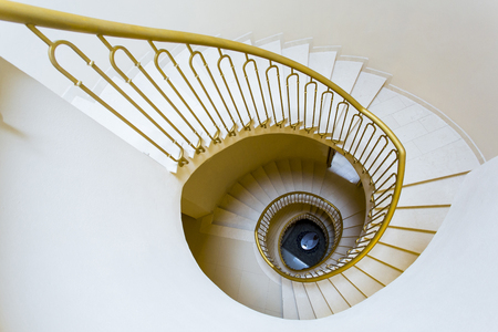 golden section: View from the top of a spiral staircase of an old Tuscan home